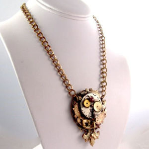DESIGNER KAY Necklace Steampunk Vtg Watch GP Ruby
